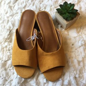 Faux suede mustard yellow slip on